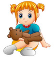 little girl sit with holding teddy bear vector image