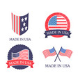 made in usa promo emblems with natinal flag set vector image