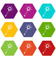 magic wand icon set color hexahedron vector image vector image