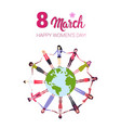 mix race women holding hands around globe vector image vector image
