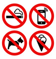 No smoking No cell phone No dogs and No eating vector image vector image