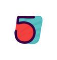 number five logo in kids paper applique style vector image vector image