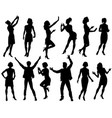people silhouette set vector image