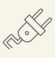 power plug thin line icon electricity vector image