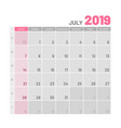 practical light-colored planner 2019 july flat vector image vector image