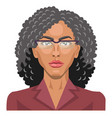 pretty girl with glasses and curly hair on white vector image vector image