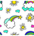 rainbow with clouds and star sunshine seamless vector image