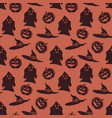 seamless pattern with evil pumpkins and ghosts vector image