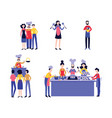 set chef with male and female cooks flat vector image