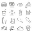 set of icons in line style eating fast food vector image vector image