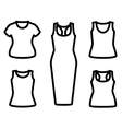 Set of t-shirts and dress icon vector image