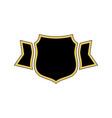 shield black icon gold outline shield golden vector image vector image