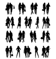 Silhouettes of happy family vector image vector image