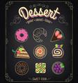 sweets dessert set on a blackboard menu vector image vector image