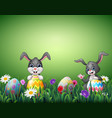 two happy rabbit cartoons with easter eggs in a fi vector image vector image