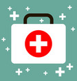 virus first aid help kit box icon white blue vector image