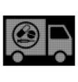 white halftone drugstore truck icon vector image