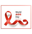 world aids day banner with realistic red ribbon on vector image vector image