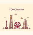 yokohama skyline japan trendy linear style vector image