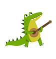 cute cartoon crocodile character playing guitar vector image