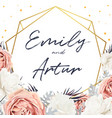 floral wedding invite card design with flowers vector image