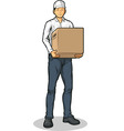 Delivery Man Bringing Carton Box vector image