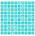 100 finance icons set grunge blue vector image vector image