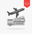 Air tickets concept icon Flat design gray color vector image