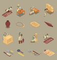 archeology isometric icons set vector image vector image