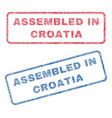 assembled in croatia textile stamps vector image vector image
