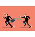Businessman running away from a man holding gun vector image vector image