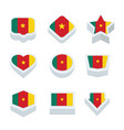cameroon flags icons and button set nine styles vector image