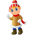cartoon christmas elf giving thumbs up vector image vector image