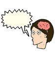 cartoon head with brain symbol with speech bubble vector image vector image