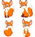 cartoon little fox collection set vector image vector image