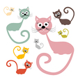 Cats Set Isolated on White Background vector image