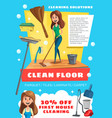 cleaning service house and floor clean vector image vector image