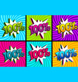 comic text 100 percent set quality pop art vector image