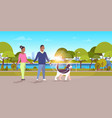 couple walk with husky dog african american man vector image