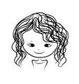 Cute girl smiling sketch for your design vector image