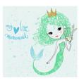 cute little mermaid vector image vector image