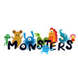 cute monsters cartoon characters vector image vector image