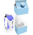 dairy produces collection in carton box milk vector image vector image