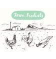 Drawn range chicken farm fresh meat sketch vector image vector image