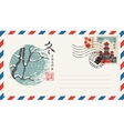 envelope with a japanese postage stamp vector image vector image