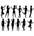 female silhouette set vector image vector image