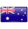 Flags Australia in the form of a magnet on vector image vector image
