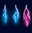 flashes lightning set isolated on transparent vector image vector image