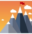 flat flag on mountain Success vector image