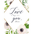 floral card design with white pink anemone flower vector image vector image
